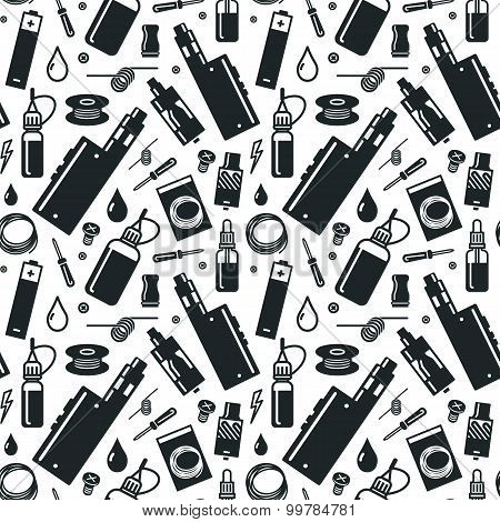 Vector Seamless Pattern Of Vaporizer And Accessories