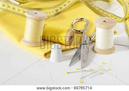 Fabric, thread and pins