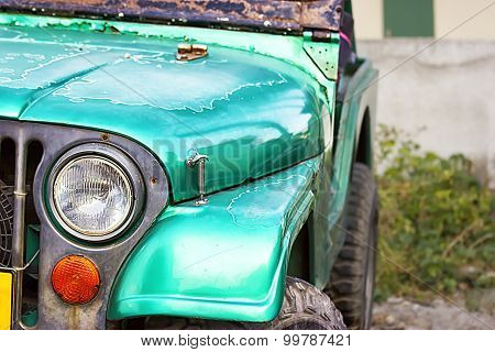 Close up shot of old rustic car