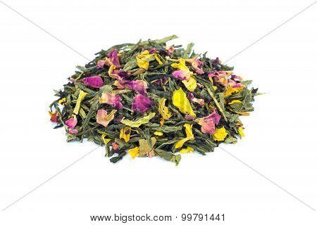 Heap Of Loose Emperor's 7 Treasures Tea On White