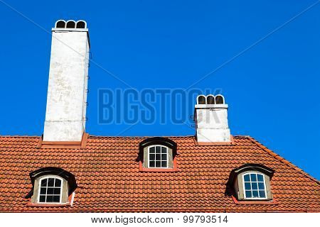 Garret Roof With Window And Chimney, Riga, Latvia