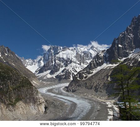 Peaks in snow and glacier nearby Chamonix