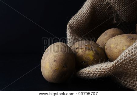 Potatoes Tipping From Hessian Sack On Black