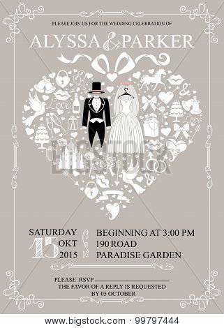 Wedding invitation with heart composition.Wedding wear