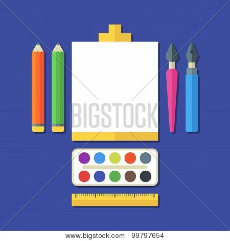 Creative Flat Illustration Of Tools, Art Supplies For Design, Drawing, Painting. Vector Icon Set Of