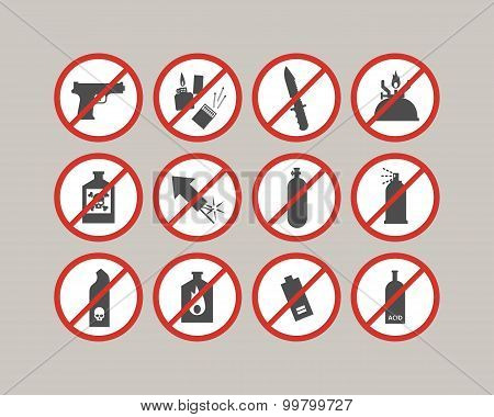 Prohibited luggage items. Airport restrictions. Dangerous stuff for airplane. Vector icons collectio