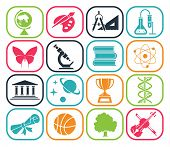 Collection of icons presenting different school subjects, science, art, history, geography, chemistry, maths, music, sports. Vector illustration. Back to school. Pictogram icon set. School days.  poster
