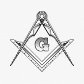 Freemasonry emblem logo with G great architect. Mystic occult symbol, esoteric and alchemy, vector illustration poster