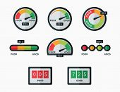 Credit score indicators and gauges vector set. Measurement level, display pressure, minimum and maximum illustration poster