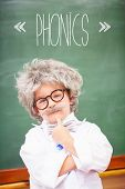 The word phonics against pupil wearing peruke and eyeglasses poster