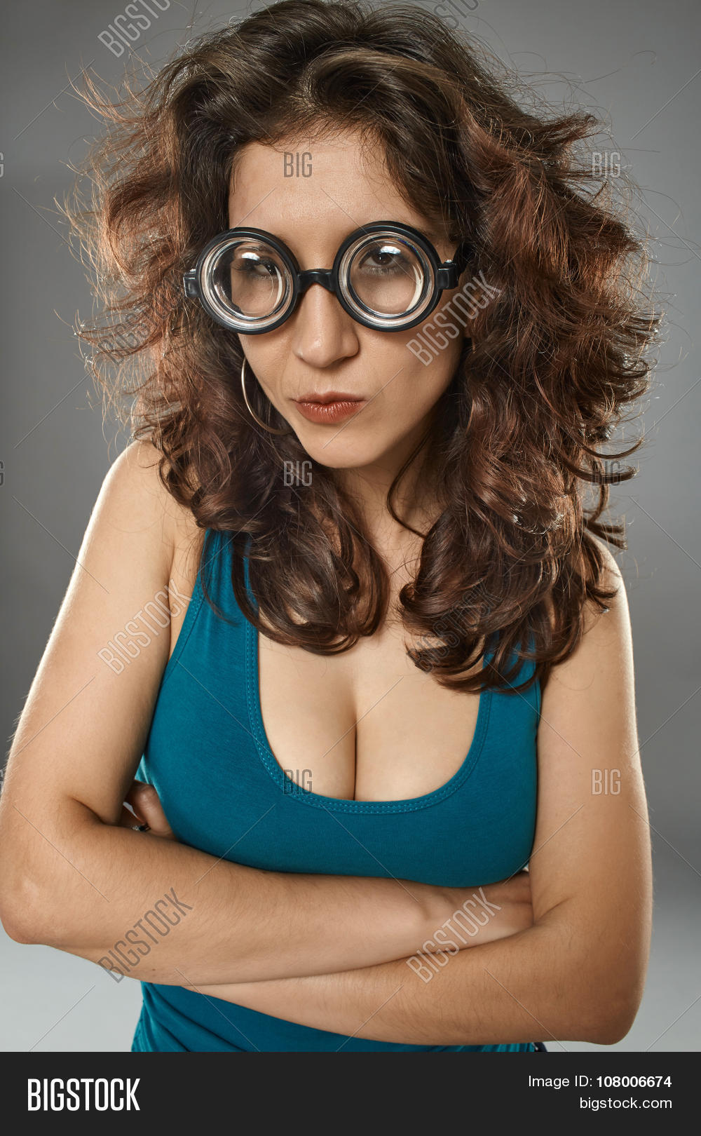 Final, sexy girl with nerd glasses something is