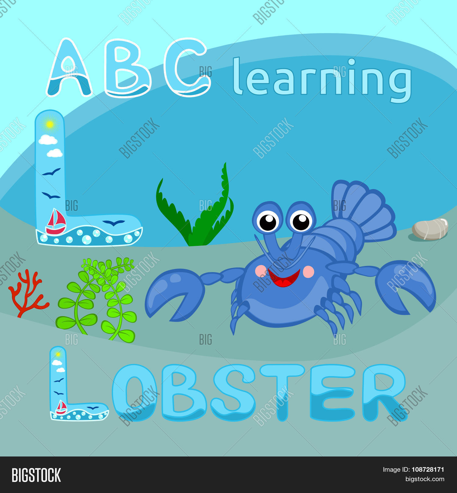 Cartoon Characters 8 Letters : L lobster l letter vector & photo free trial bigstock