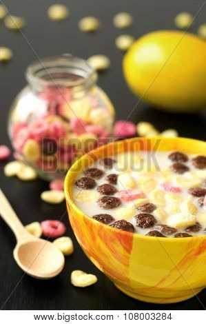 Breakfast lunch snack lemon chocolate fruity ball cereal with milk