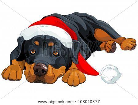 Illustration of beautiful Christmas Rottweiler
