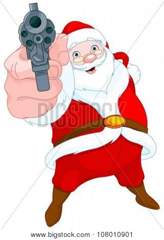 Illustration of cute robber Santa Claus