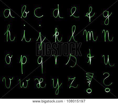Flourescent alphabet