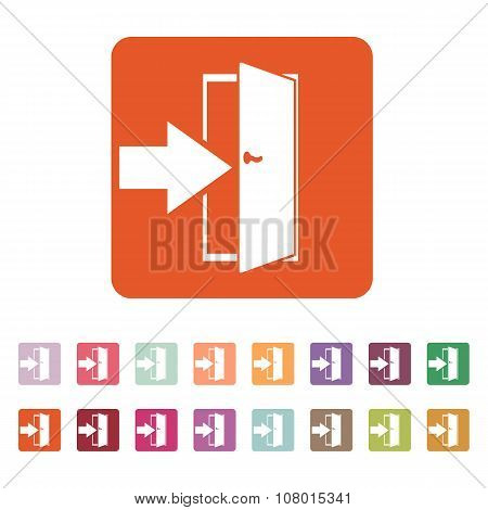The login icon. Entry and input, authorization symbol. Flat