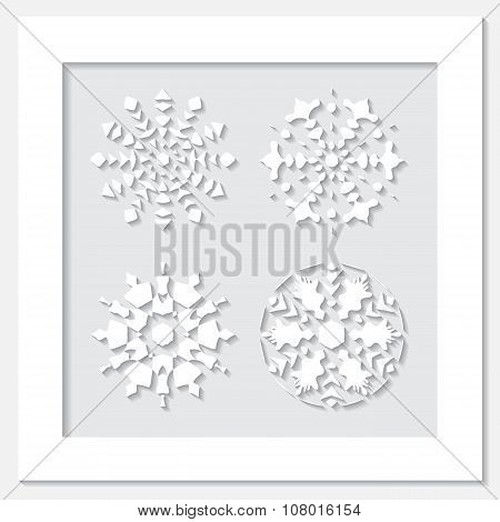 Stock Vector White Frame With Set Of Snowflake  On The Grey Background.
