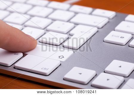 Aluminium Keyboard With Finger Pressing On Key