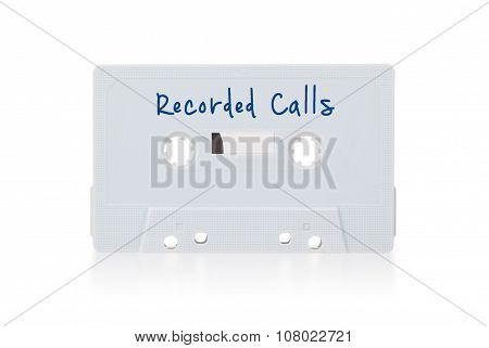 Vintage Audio Cassette Tape, Isolated On White Background