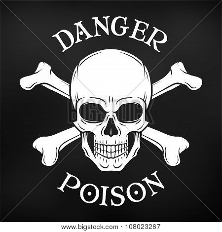 Danger skull vector on black background. Jolly Roger with crossbones logo template. death t-shirt de