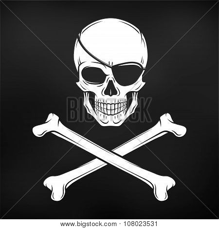 Jolly Roger with eyepatch and crossbones logo template. Evil skull vector. Dark t-shirt design. Pira