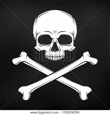 Human evil skull vector on black background. Pirate flag concept design. Jolly Roger with crossbones