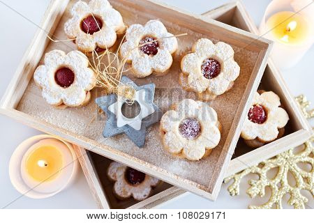 Traditional Czech Christmas - Sweets Baking - Linzer Biscuits (linz Tarts) Filled With Jam
