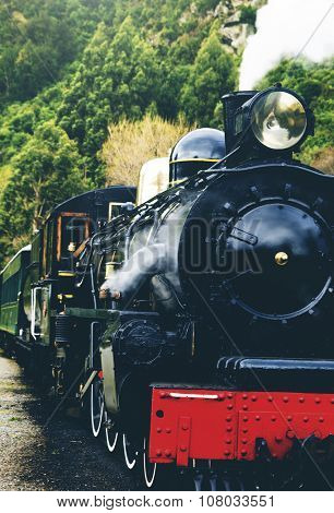 Steam Train Countryside Railroad Transportation Travel Concept