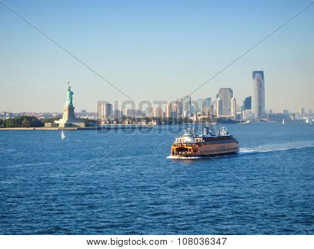Ferry In Upper New York Bay