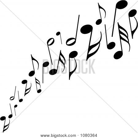 Black Musical Notes Dancing Upwards