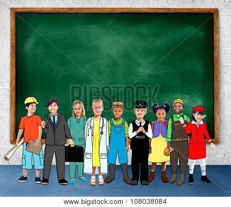 Children Kids Dream Jobs Diversity Occupations Concept poster