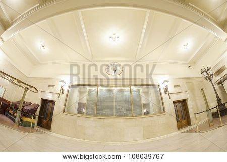Fisheye Lens Photo Of Grand Central Terminal Interior With Timetable.