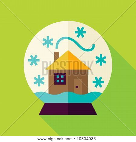 Vector Flat Snowglobe With House Icon