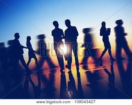 Business People Commuter Corporate Rush Hour Concept