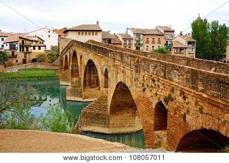 Puente de la Reina in Saint James Way bridge over Arga River in Pamplona