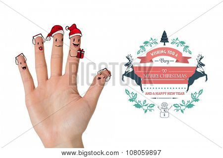 Christmas caroler fingers against merry christmas message