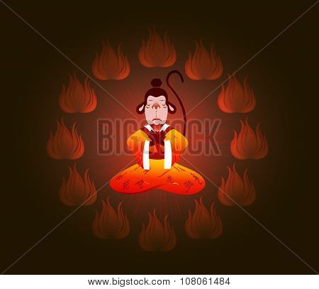 Wise Chinese monkey in a circle of fire. Symbol of the New Year. EPS10 vector illustration