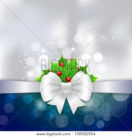 White Ribbon,  Bow And Holly Berry On Silwer Background.