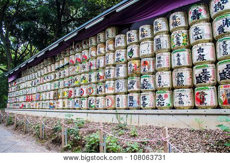 Sake Barrel Offerings In A Japanese Shrine