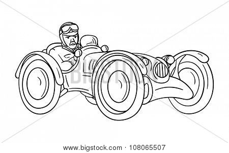 vector - old car - isolated on background