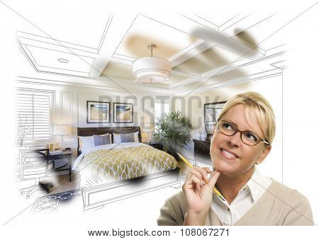 Daydreaming Creative Woman With Pencil Over Custom Bedroom Design Drawing and Photo Combination. The framed art is photographer's copyright.