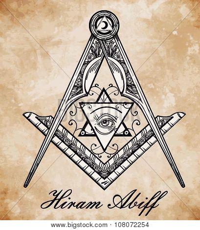 Freemasonry emblem, masonic compass symbol.