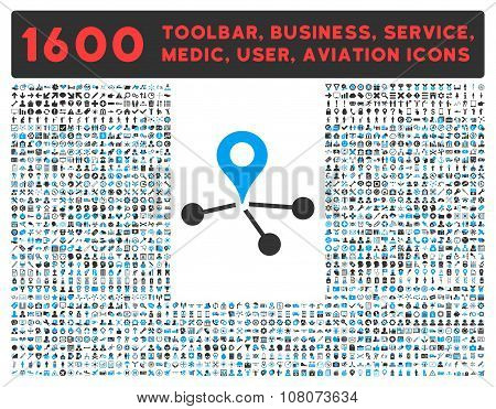 Geo Network raster icon and 1600 other business, service tools, medical care, software toolbar, web interface pictograms. Style is bicolor flat symbols, blue and gray colors, rounded angles, white background. poster