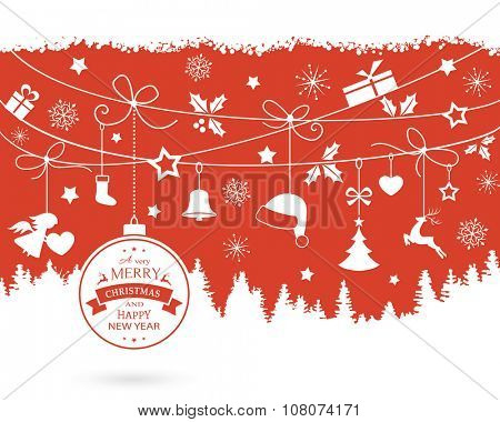 Various hanging Christmas ornaments like Christmas bauble, santa hat, reindeer, angel, heart, present, stocking and Christmas tree with ribbons on a monochrome red backdrop over a fir landscape.