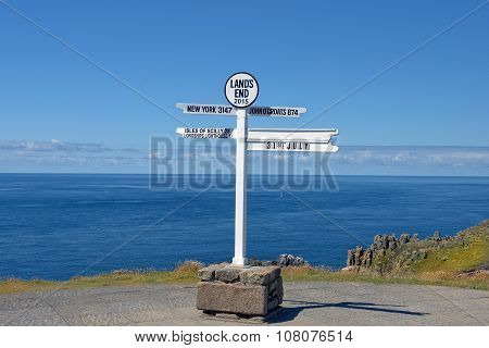 distance signpost at Land's End, Penwith Peninsula, Cornwall, England, most westerly point of England on the Penwith peninsula eight miles from Penzance on the Cornish coast poster