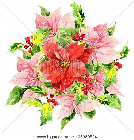 Three watercolor hibiscus with foliage and viburnum