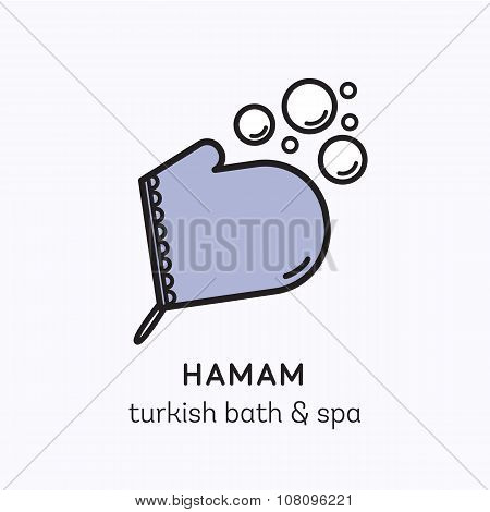 Vector logo line art icon for hamam - turkish bath or spa center. Illustration of kese mitten with f