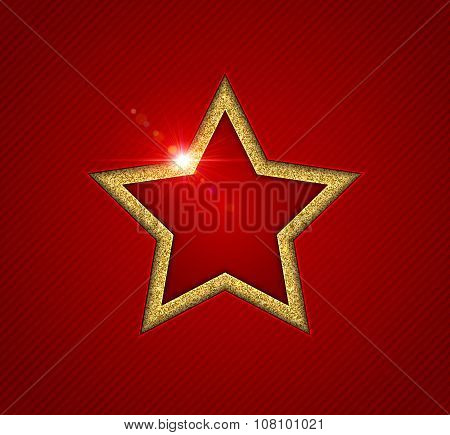 Gold shining star with reflection, christmas greeting card