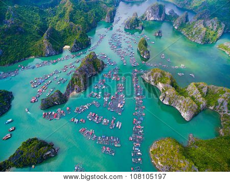Aerial view of floating villages around Cat Ba islands